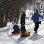 Slittini in azione sulla neve nel Parco del Pollino
